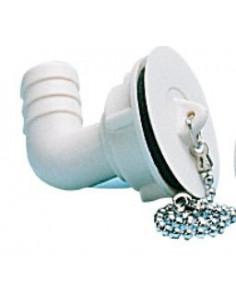 Desagüe Ø 20 acodado con tapón y cadena